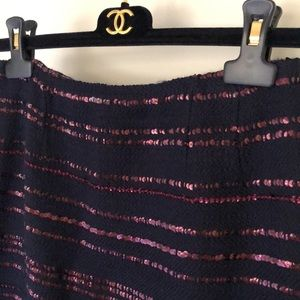 Chanel sequins stripes wool skirt